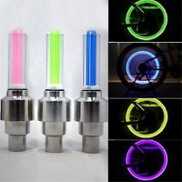 2 X GREEN VALVE DUST CAP TYRE COLOUR LED NEON CAR BIKE WHEEL LIGHTS SAFETY