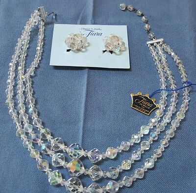 tiara Jewels Beautiful In Colour Adroit Vintage Aurora Borealis 3 Strand Necklace & Matching Clip Earrings Jewelry Sets