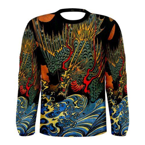 Japanese Dragon T-Shirt Long Sleeve Tattoo Art All Over Print