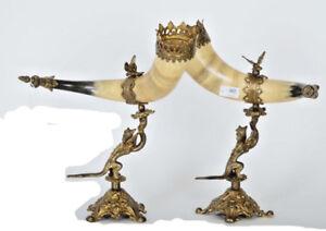 PAIR-antique-Cornucopia-horn-Gothic-dragon-chimaera-with-eagle-on-top-rare