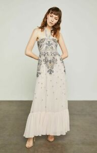 498-BCBG-MAXAZRIA-Whisper-Pink-Embroidered-Halter-Dress-Gown-PROM-SZ-2