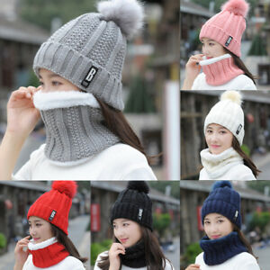 Womens-Cable-Knit-Cap-Beanie-Pompom-Hat-Thick-Fleece-Scarf-Snood-Winter-2Pcs-Set