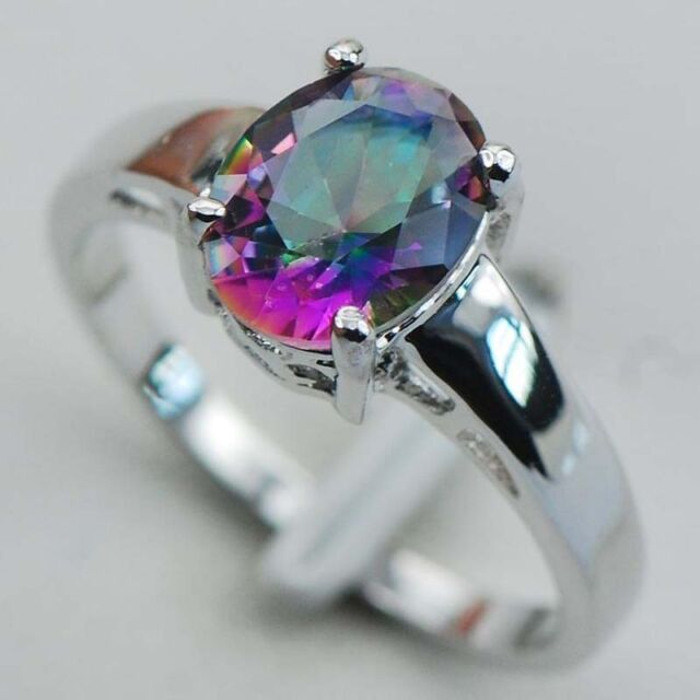 Fashion Jewelry 925 Silver Oval Cut Rainbow Topaz Ring Engagement Jewelry Gift