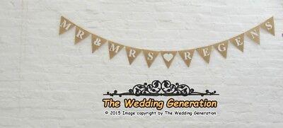 Personalised BRIDE /& GROOM Wedding Engagement Bunting Banner Hessian Vintage