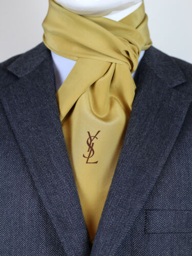 YVES SAINT LAURENT MENS VINTAGE FRINGED SILK SCARF