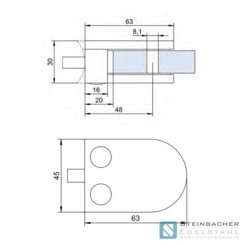 Acier Inoxydable glashalter 63 x 45mm glasklemme tôle borne borne v4a v2a