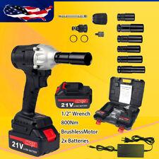 Cordless Electric Impact Wrench Gun 12 Driver Drill 800nm Li Ion 2 Batteries