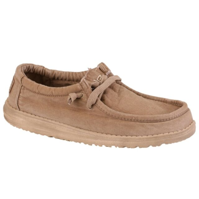 Hey Dude Wally Mens Relaxed Fit Elasticated Lace Up Canvas Shoes Size 7-14