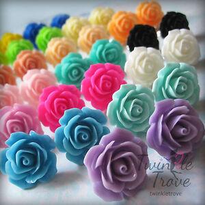 Image Is Loading Colourful Vintage Rose Bud Flower Stud Earrings