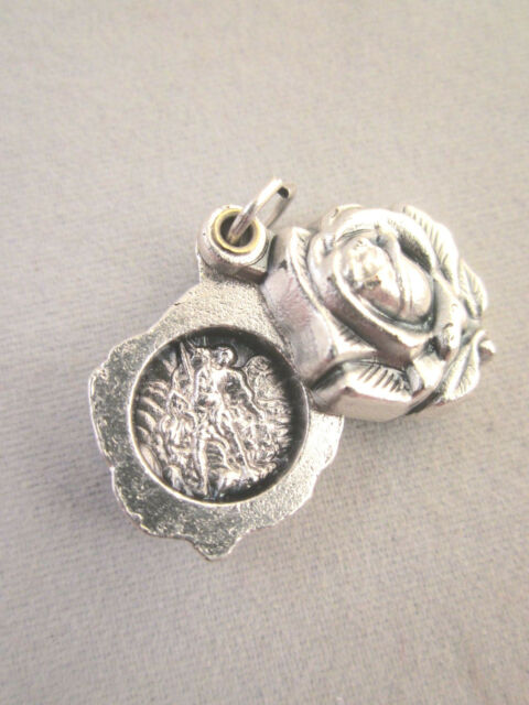 St Michael / Guardian Angel Locket Style Rose Slide Medal Italy