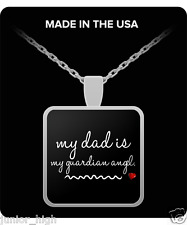 Guardian Angel Necklace Gifts Jewelry Father Dad Daughter - Silver Plated Heart