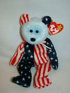 1999 Mint w// Ear Tag PE Pellets Ty Beanie Babies Spangle w// blue face