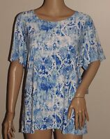 NWT JM COLLECTION PLUS 1X BLUE WHITE OMBRE RAISED SWIRL SNAKE PRINT BLOUSE TOP