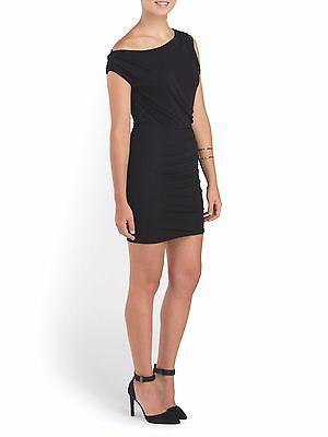 Halston Heritage Slit-One Shoulder Ruched Dress Vermillion red Mini Jersey NEW