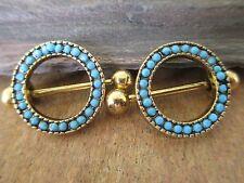 Gold IP Faux Turquoise Circle Nipple Ring Shield Piercings