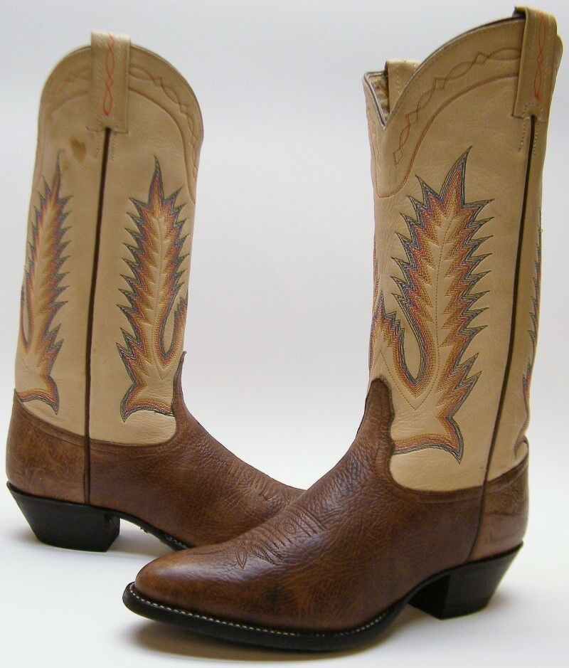 Donna TONY LAMA 1617 LEATHER BULL HIDE LEATHER 1617 BROWN COWBOY WESTERN BOOTS SZ 7 M 7M 77a8ae