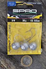 4//0-28g 3x SPRO Round Jigkopf HD Jig 90 Gamakatsu Haken Twister Shad Gr