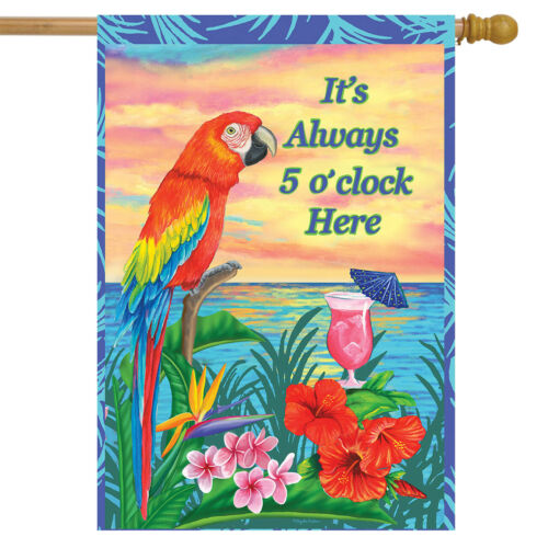 """Always 5 O/'Clock Summer House Flag Nautical Parrot Cocktails Drinks 28/"""" x 40/"""""""