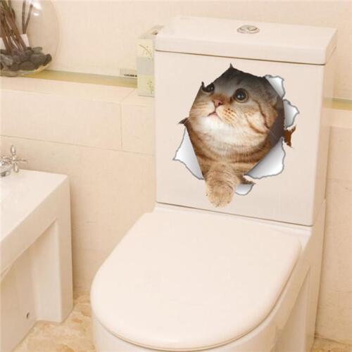 Toilet Seat Lid Sticker Cat Dog Kitten Bathroom Tiles Cats Dogs Stickers YI
