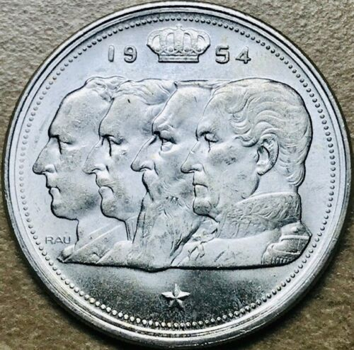 BELGIUM KM-138.1 1954 Choice Brilliant Uncirculated Silver 100 Francs