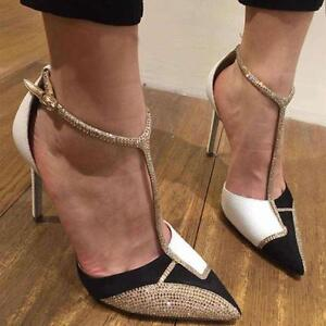 Sequin Sexy Women S T Strap High Heels Stilettos Sandals Party Pointed Toe Shoes Ebay
