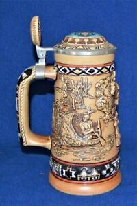 1988 CERAMARTE for AVON Handcrafted Brazil INDIANS FRONTIER Lidded Beer Stein