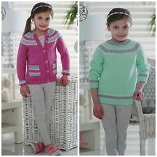 King Cole Easy Knit Double Knitting Pattern Girls Longline Sweater Cardigan 4952