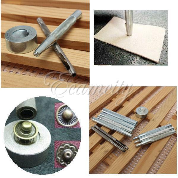 DIY Die Punch Tool Kit for 10/12.5/15/17mm Snap Fasteners Rivet Grommet Button