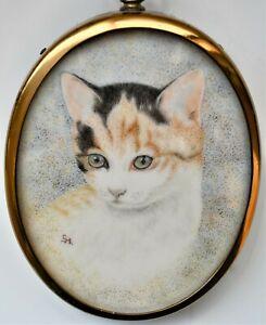 Original-Miniature-Watercolour-Painting-of-Cat-034-Kitty-034-by-Gladys-Hayton-8cm-tall