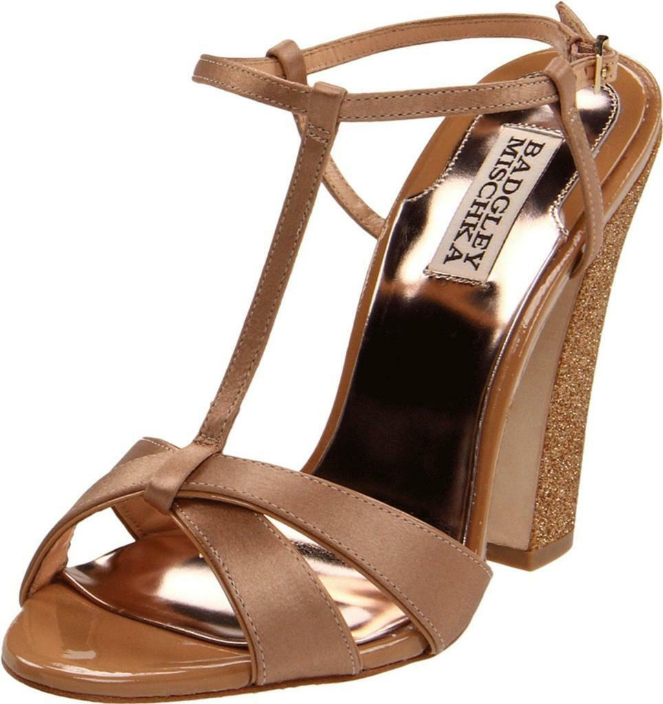 ordina adesso Badgley Mischka JENIE nude oroen Heels Heels Heels Satin T-Strap Sandal Sparkle heels oro  risparmia fino al 70% di sconto