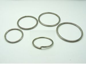 2 x STAINLESS STEEL Round Lock Clip RINGS for Key/ Card/ File/ Curtain 32mm~45mm