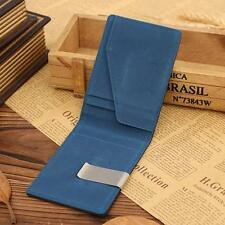 Mens Fashion Leather Magic Credit Card ID Holder Money Clip Wallet Blue New