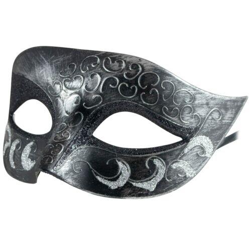 VENEZIANA UNISEX UOMO DONNA ARGENTO GLITTER Masquerade MascheraCostume Palla