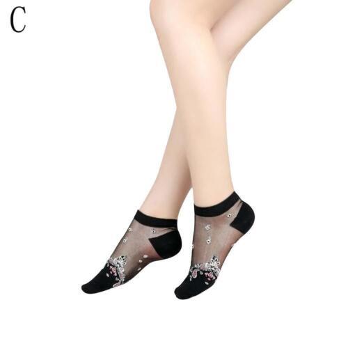 Frauen-transparente dünne Rosen-Blumen-Spitze-Socken-Kristallglas-Silk Sock#HOT