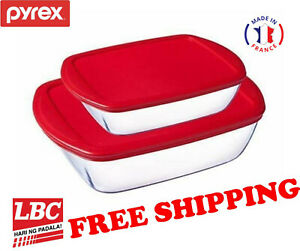 Pyrex-glass-storage-dish-2-5L-1-1L-RED-made-in-France-X-corelle-corningware