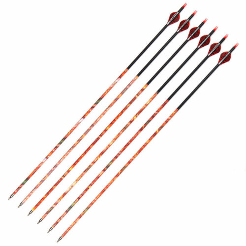 6pcs Musen 30/'/' Mixed Carbon Camo Arrows Spine 500 Arrows with 7.8mm Outer Dia