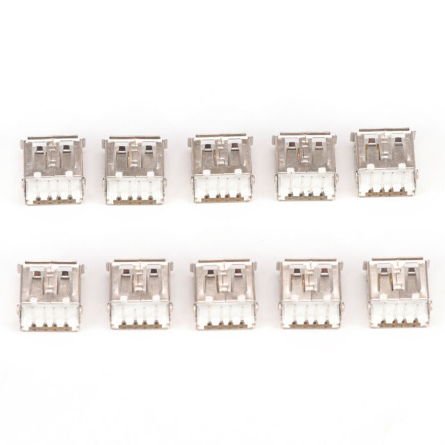 10 Pcs USB Female Type A 4-Pin DIP Right Angle Plug Jack Socket Connector J Hw