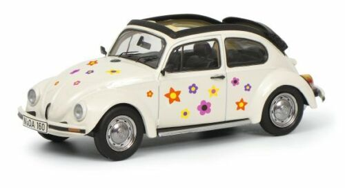 Schuco 1:43 VW Escarabajo Apen-air flores decoración blanco