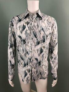 NWT-Mens-Bugatchi-White-Gray-Print-L-S-Button-Down-Shaped-Fit-Shirt-Sz-Medium