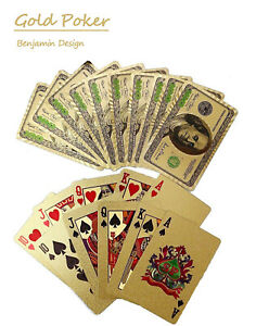 Gold-Poker-Benjamin-Design-Playing-Cards-Plastic-Waterproof-poker-Deck-Game