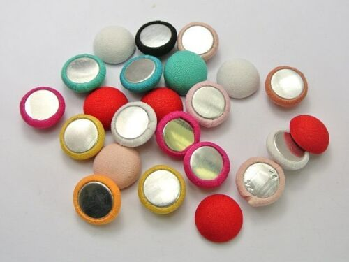 50 Mixed Color Flatback Fabric Covered Buttons Round 15mm Half Ball Cabochon