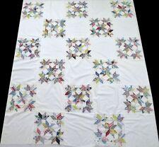 Antique 1940's Handmade Machine Stitched Feed Sack Star Quilt Top 75x62