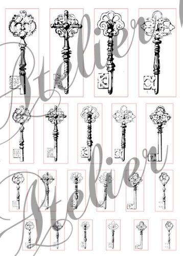 Aufkleber-Möbeltattoo-transparent-Sticker-Shabby-Vintage-Schlüssel-Key-1045