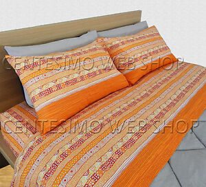 Lenzuola Matrimoniali Arancioni.Completo Lenzuola Matrimoniale Made Italy Arancione Righe Greca