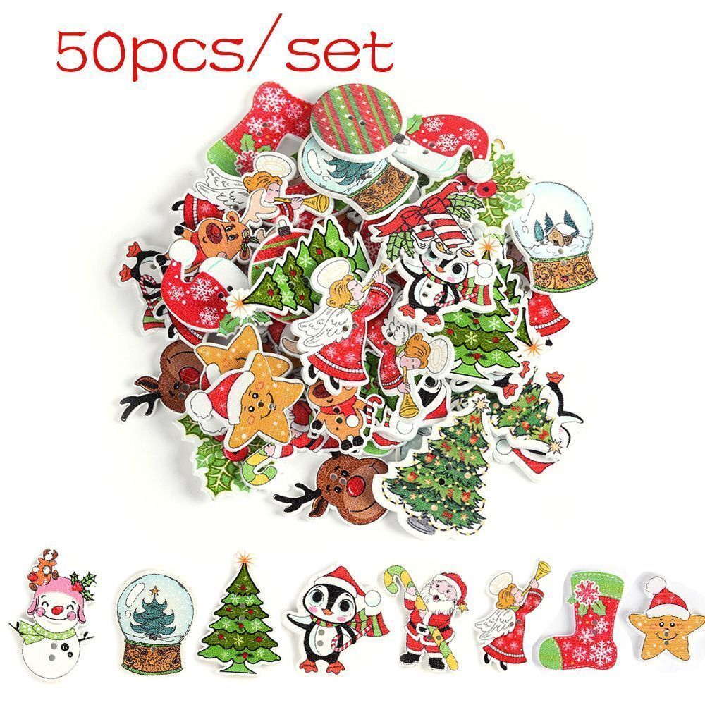 10 x Christmas Xmas Wood CHRISTMAS BAUBLE SHAPED Buttons Sewing Scrapbooking