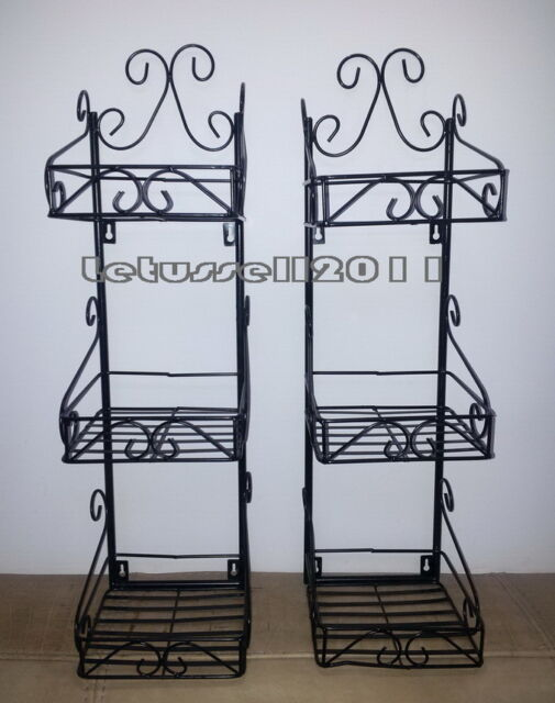 PAIR 3-TIER FRENCH STYLE WALL RACKS WROUGHT IRON METAL DISPLAY SHELF -DVD BOOKS