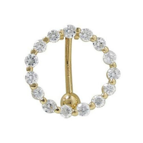 New Real 14k Gold Yellow Reverse Belly Button Navel Ring with CZ Body Jewelry