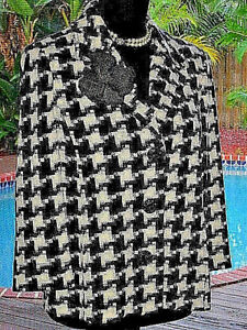 8e651991631c8 Contemporary ST JOHN Jacket In BOLD Black+White Houndstooth 8 M FR40 ...