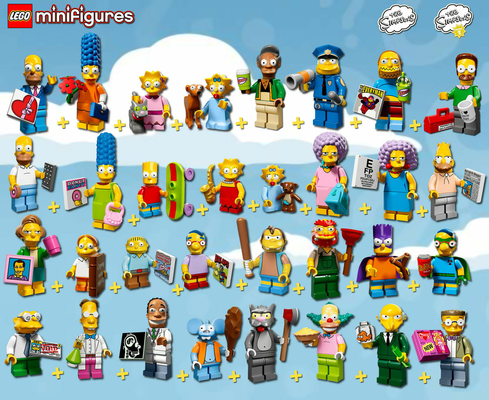 LEGO Simpsons Minifigures  71005 +  71009 - Complete Series 1 + 2 - 100% NEW