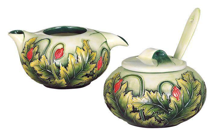 Ceramic Creamer, Sugar Bowl spoon Set  Butterfly Landing  from Benaya